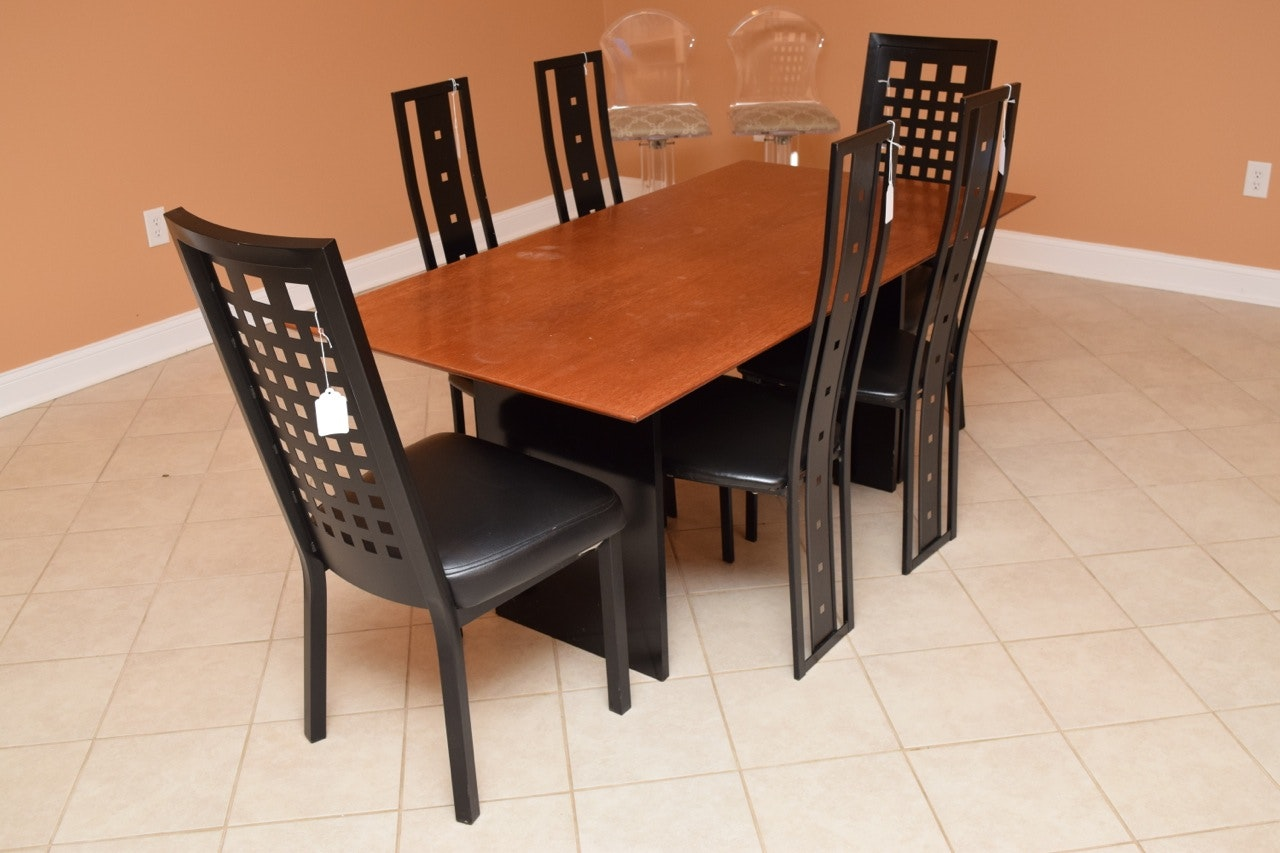 Wooden Dining Table and Contemporary Style Chairs