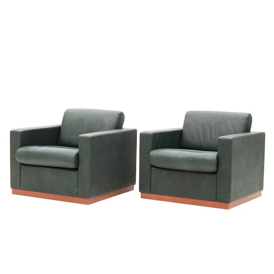 Pair of Mid Century Modern Style Green Armchairs