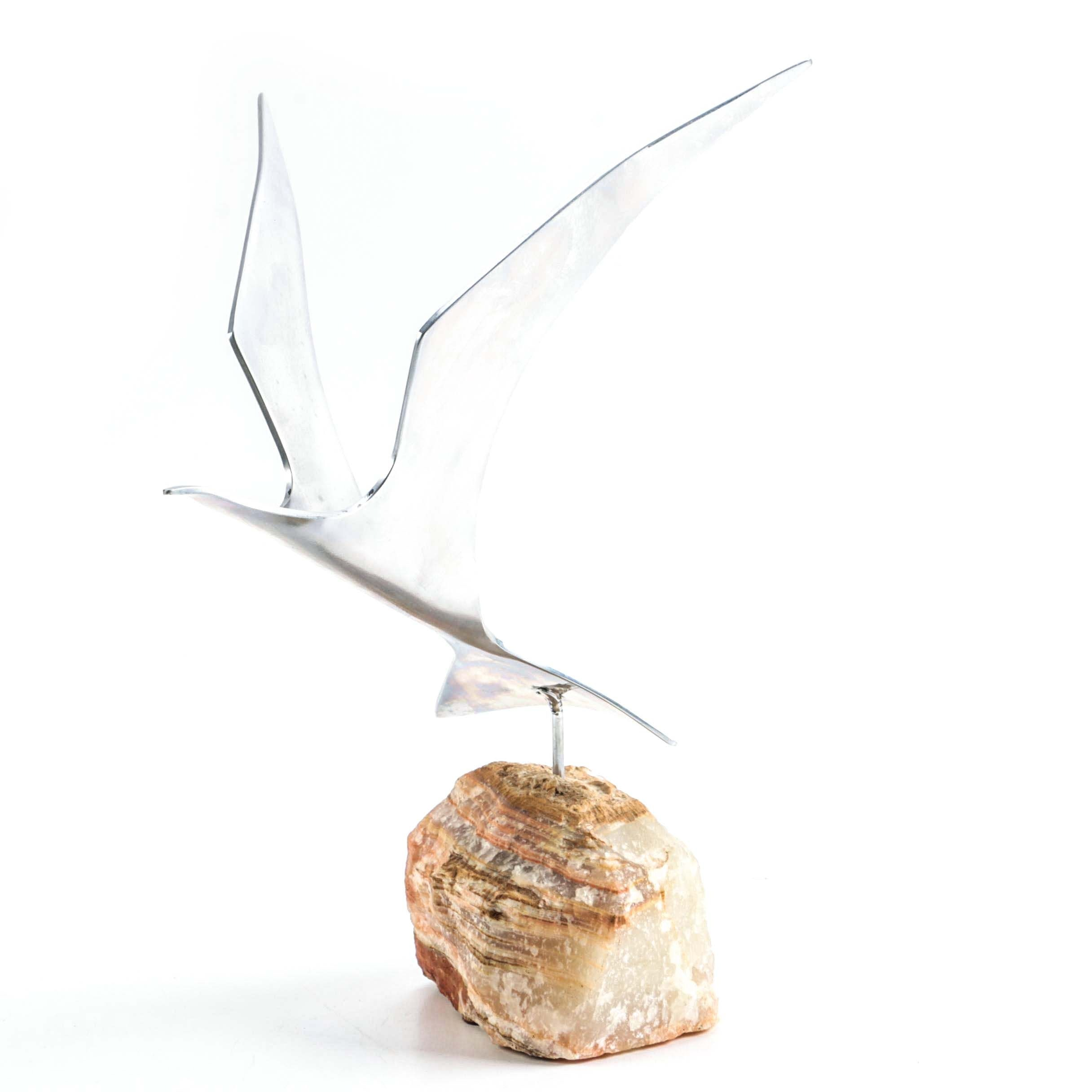 Stainless Steel Bird and Agate Décor