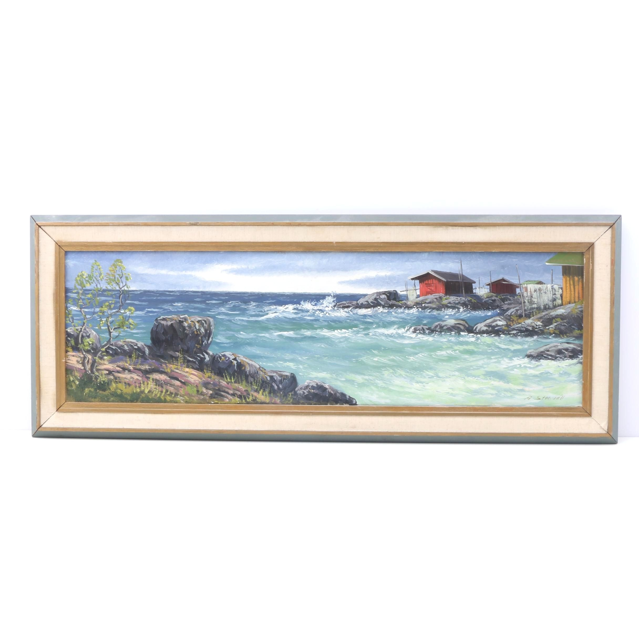 A. Stenvall Oil on Canvas Painting of Seaside Shacks