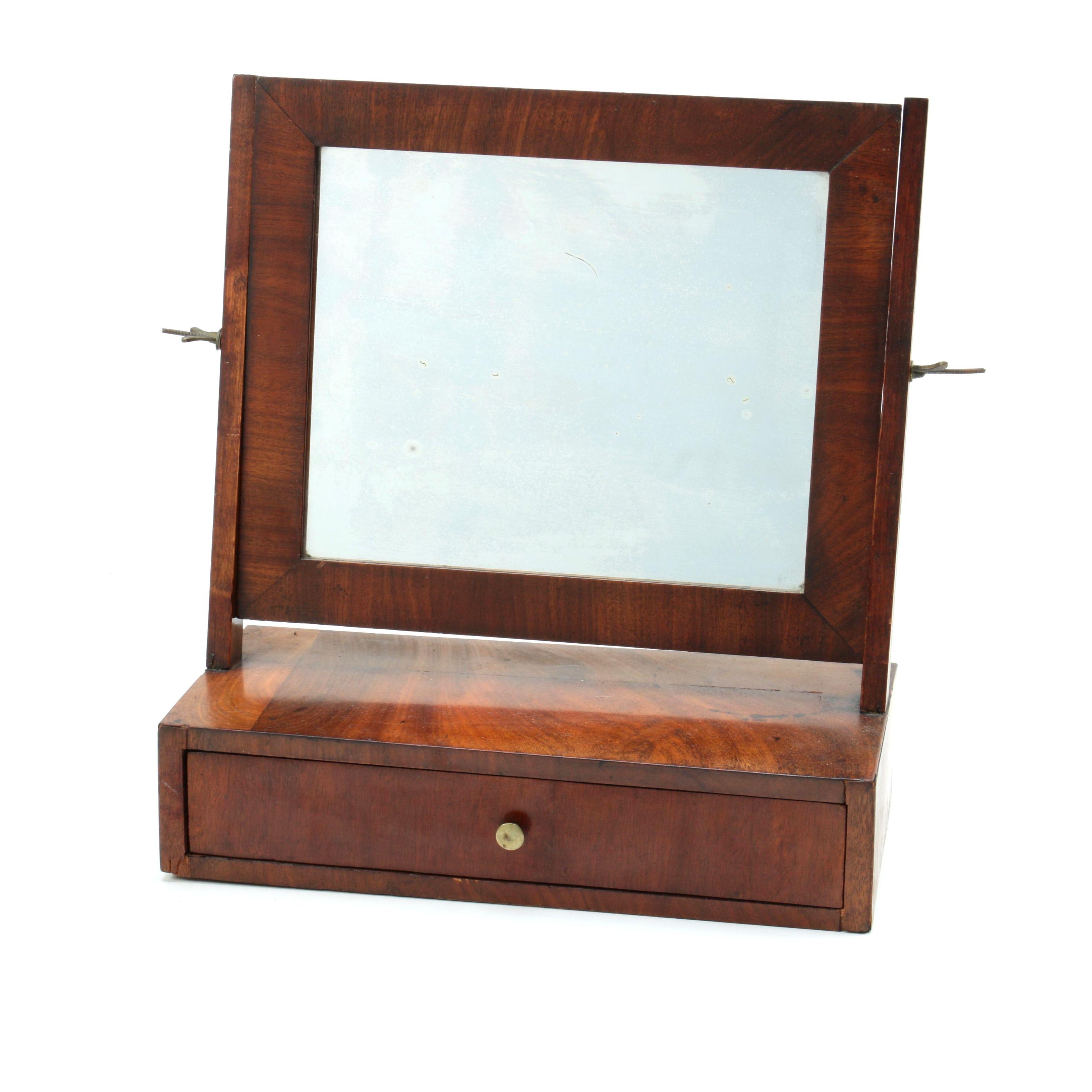 Antique Mahogany Veneer Shaving Mirror
