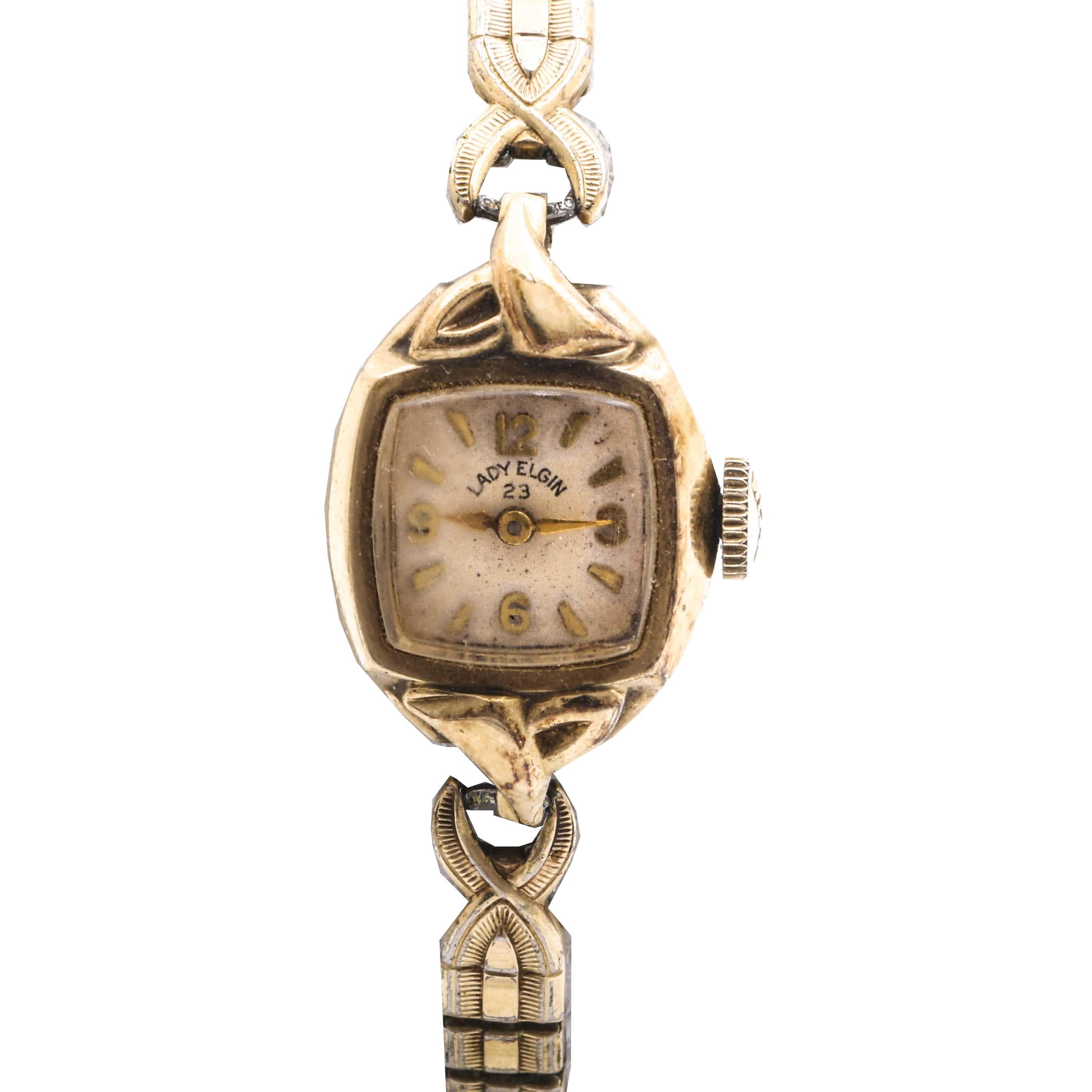 Lady Elgin 14K Yellow Gold Expansion Wristwatch