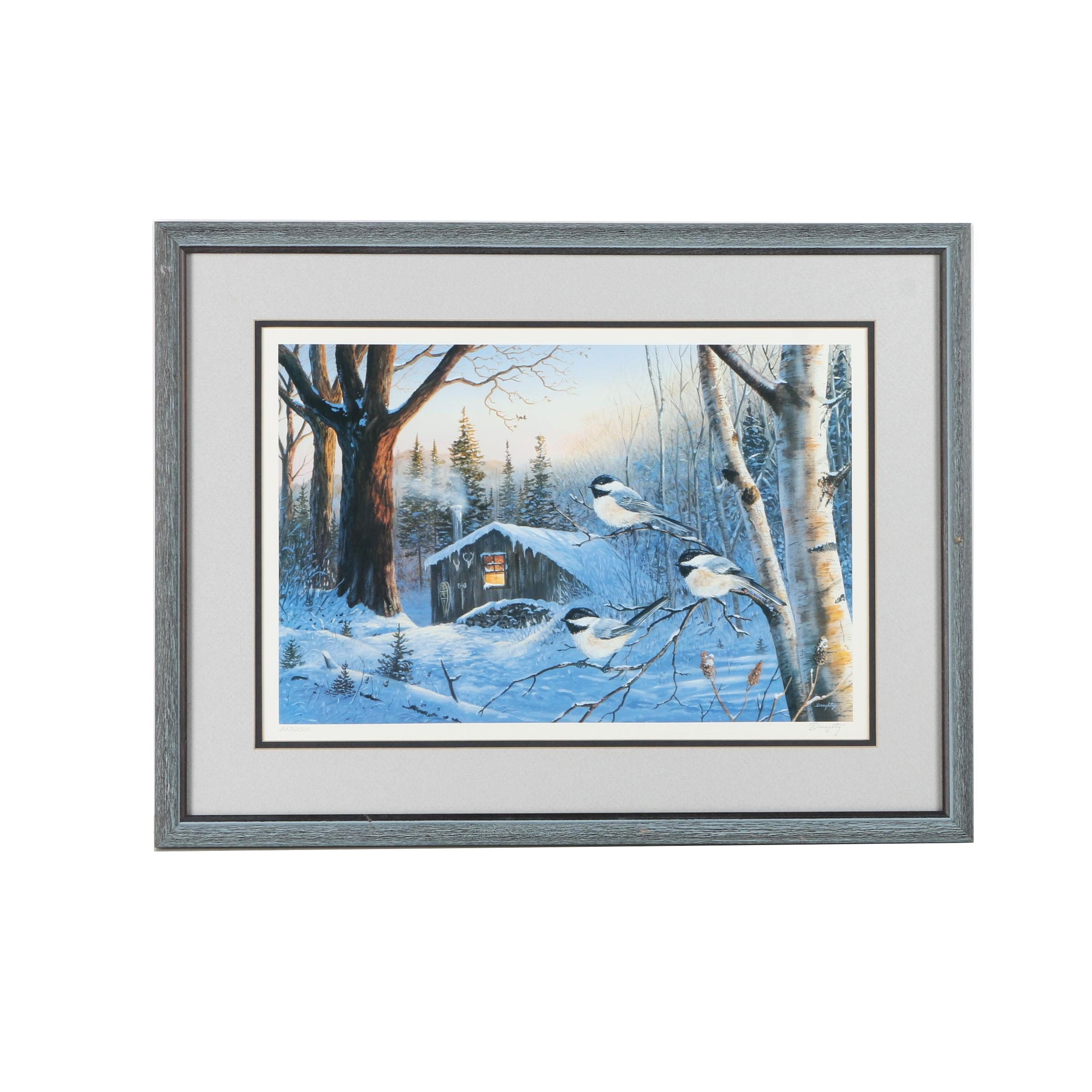 "Terry Doughty Signed Limited Edition Offset Lithograph on Paper ""Evening Shadows - Chickadees"""