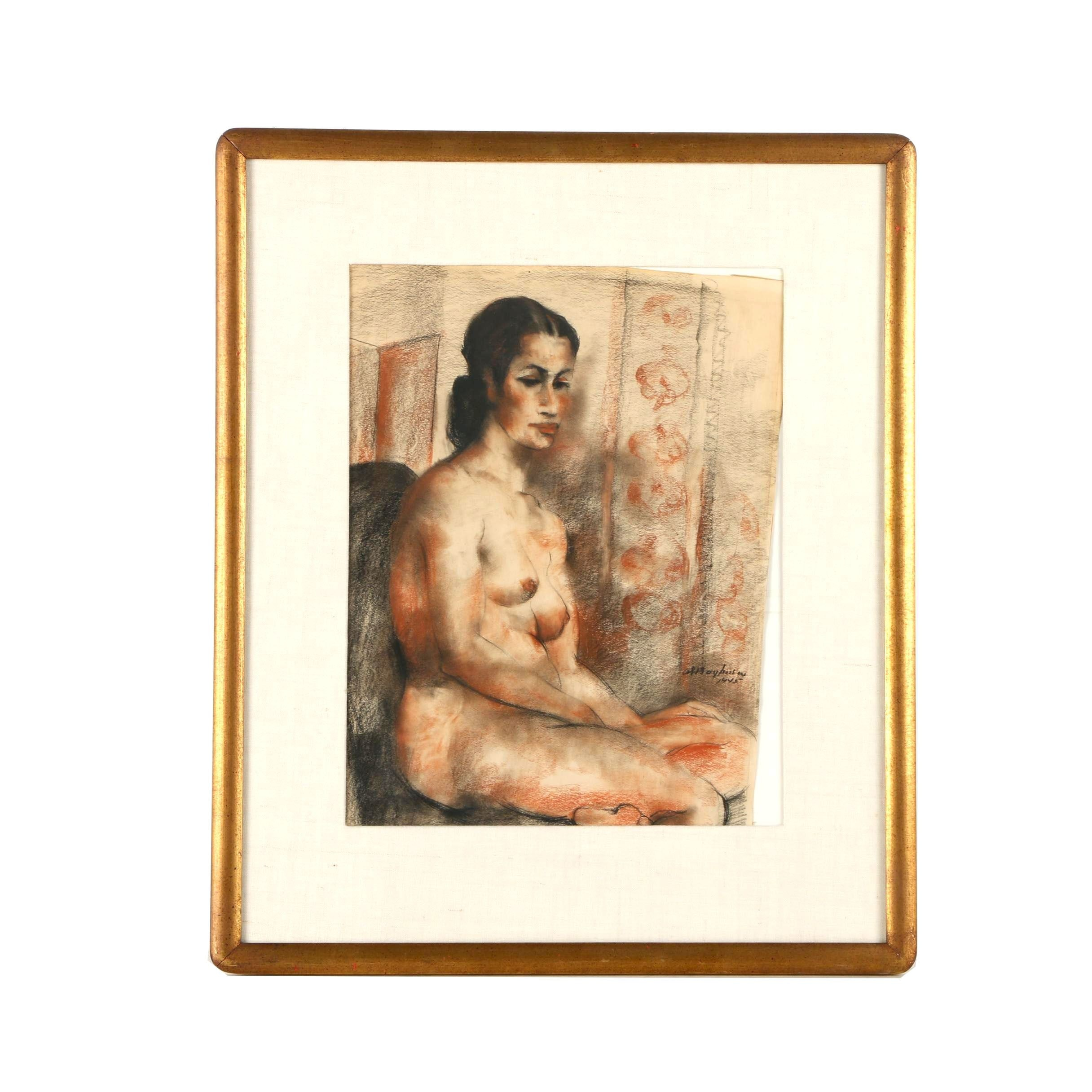 Abraham Baylinson Charcoal and Conte Crayon Drawing of Seated Nude Female