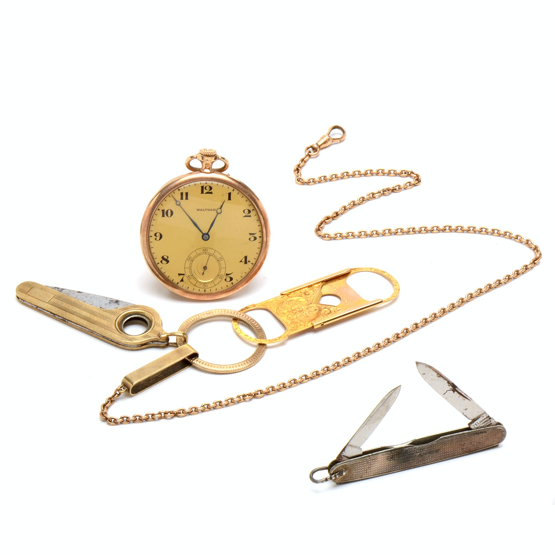14K Gold Waltham Pocket Watch With 14K and Sterling Accessories