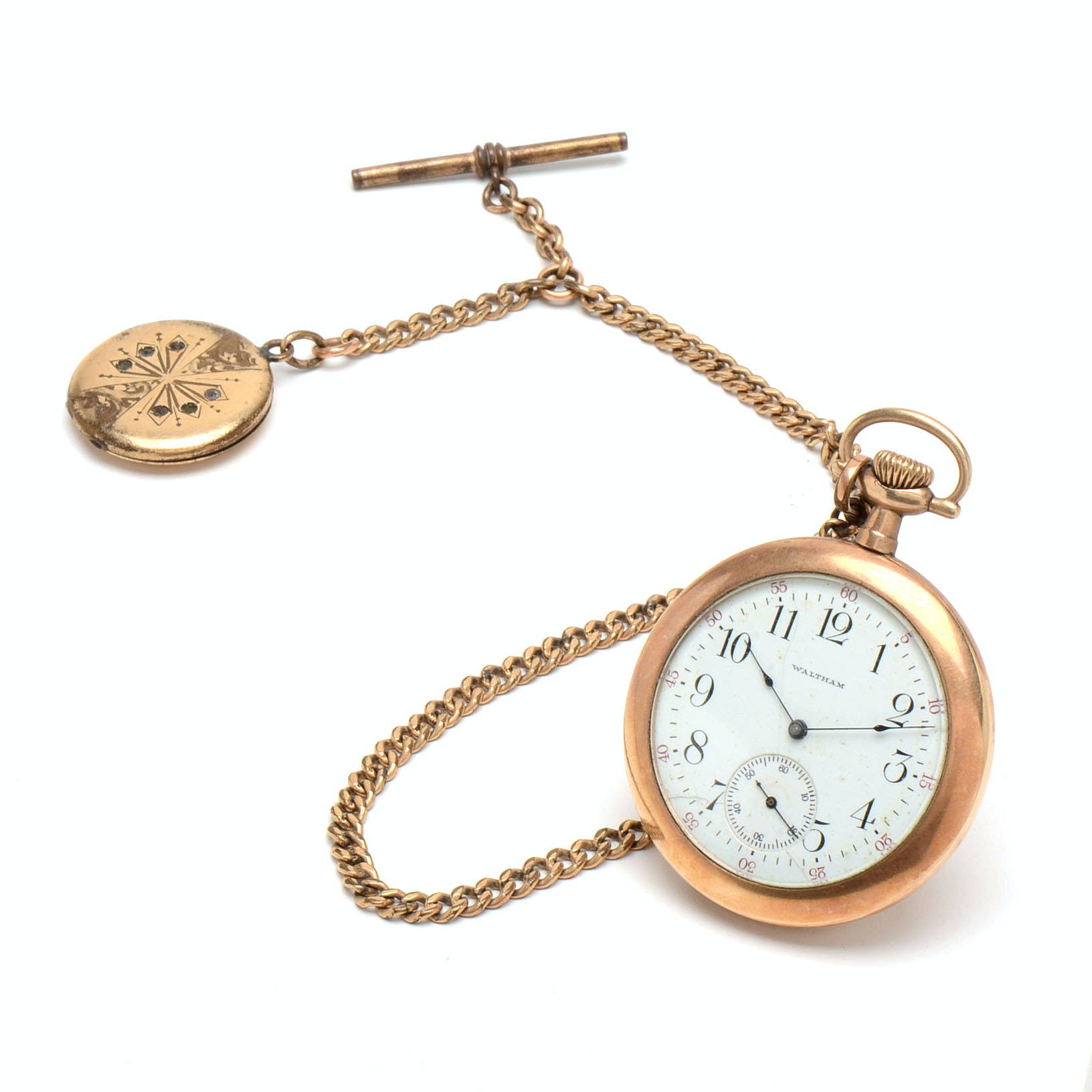 1910 Waltham Pocket Watch with Fob and Locket
