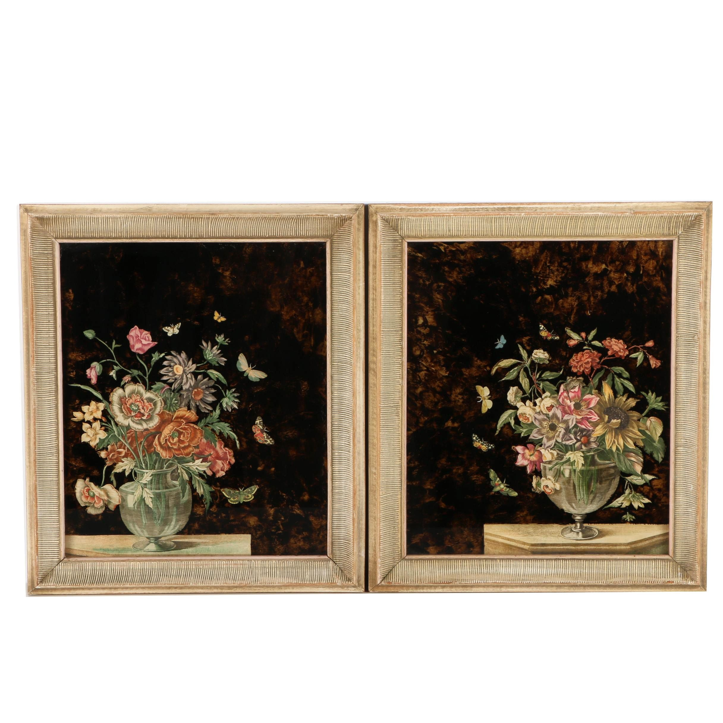 Pair of Offset Lithographs on Paper of Floral Still Life Scenes