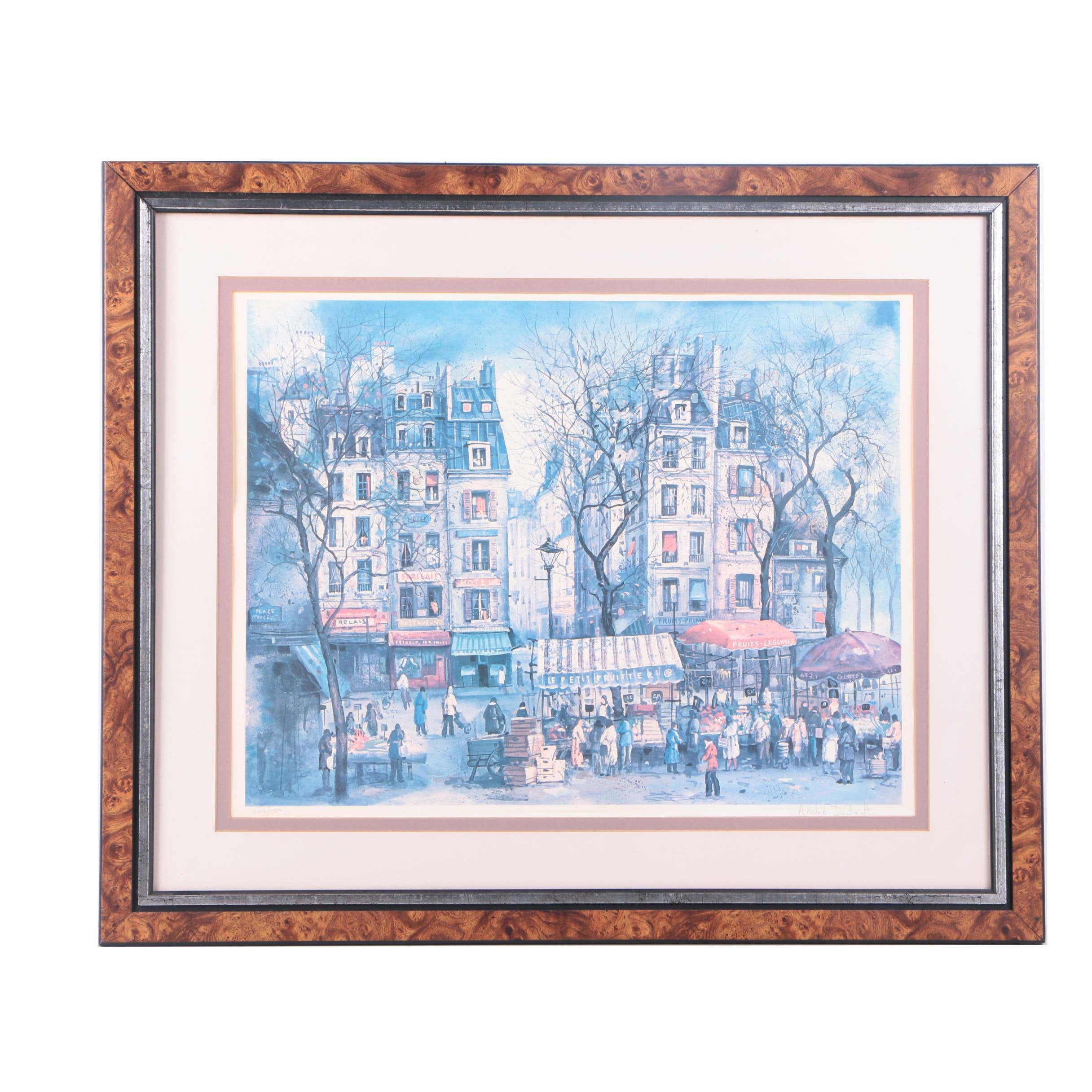 Andre DuBoidt Limited Edition Offset Lithograph of French Street Scene