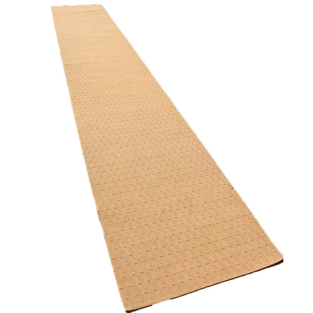 Machine Made Neutral Beige Carpet Runner