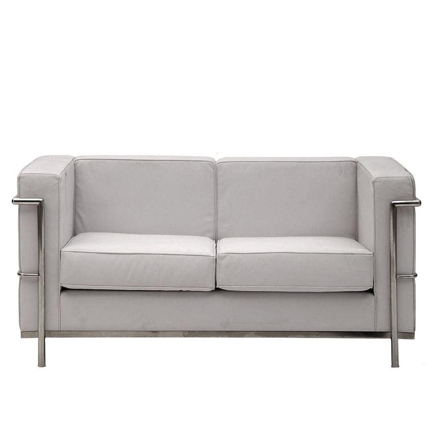 Mid Century Modern Style White Leather Sofa