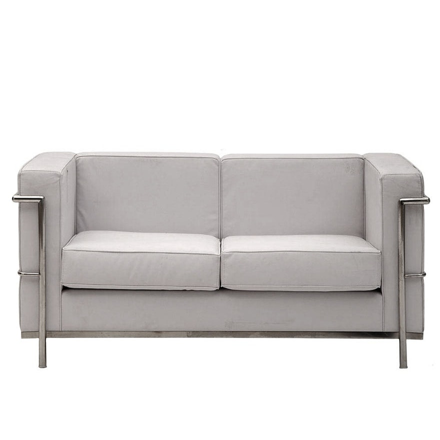 Mid Century Modern LC2 Petit White Leather Loveseat