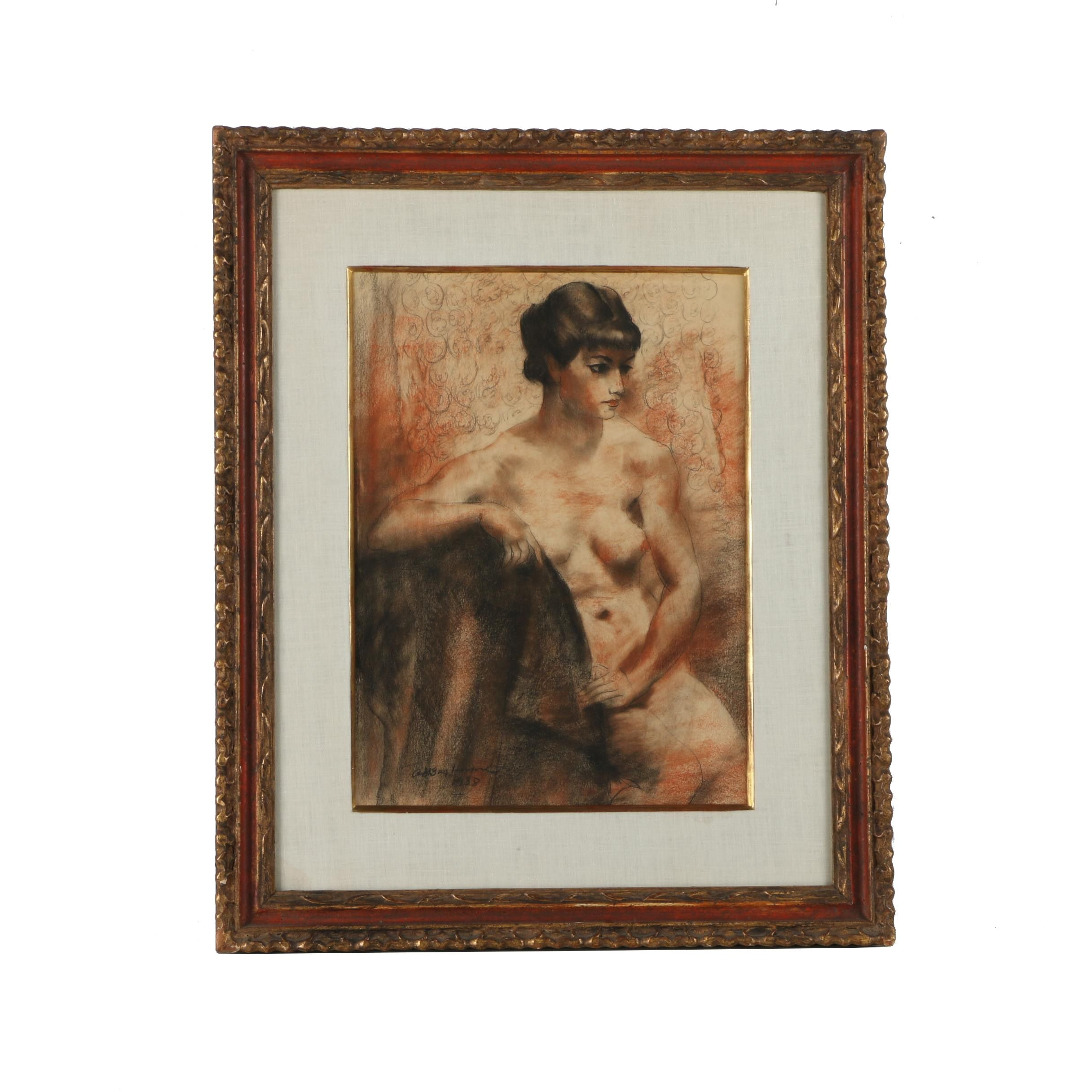 Abraham Baylinson Charcoal and Conte Crayon Drawing of Seated Nude Female Figure
