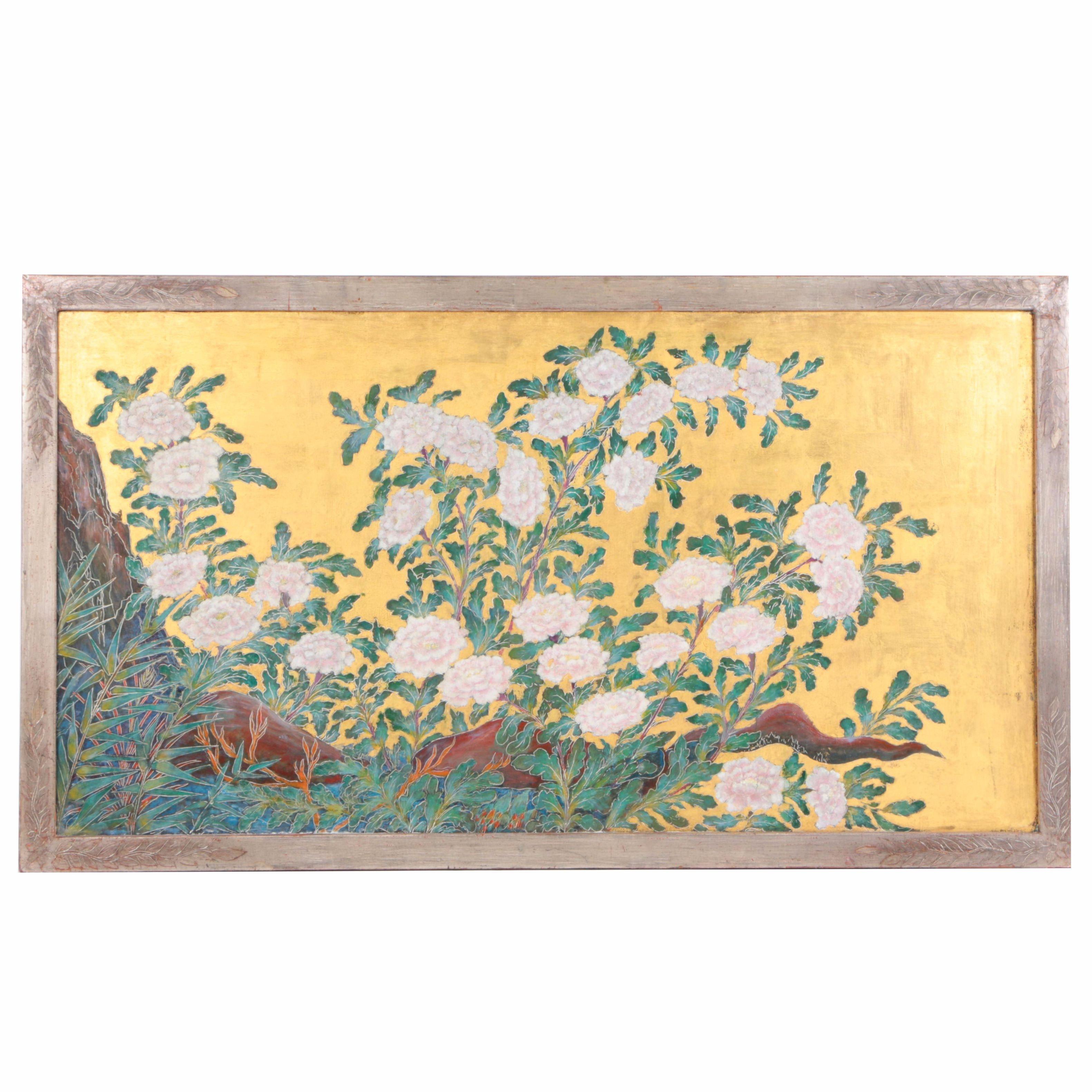 Max Kuehne Tempera Amp Gold Leaf On Panel Quot Chrysanthemums