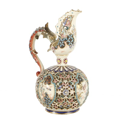 19th-Century Fischer J. Reticulated and Embossed Ewer