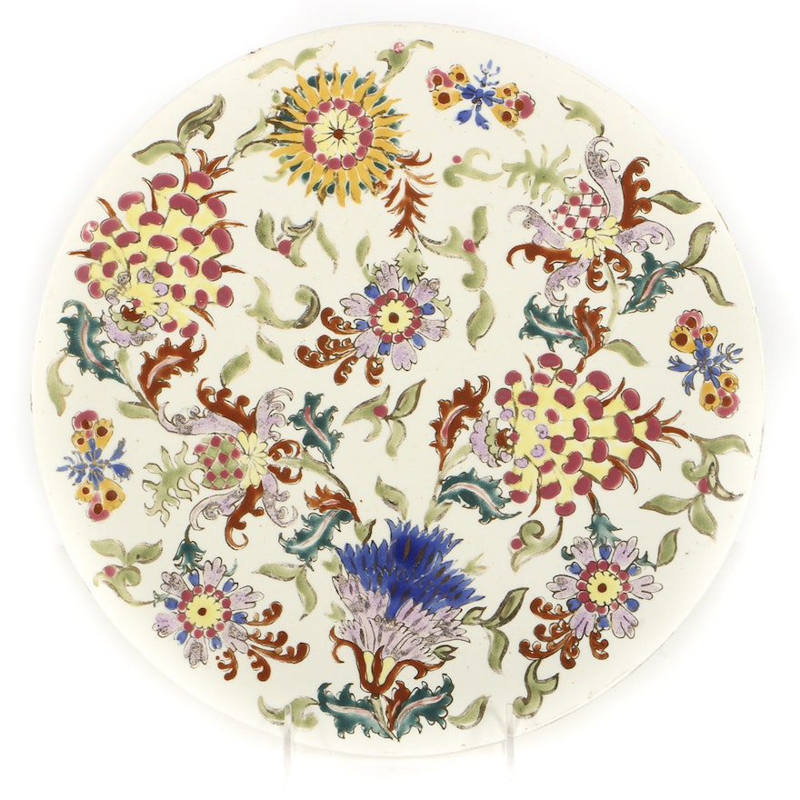 19th-Century Fischer J. Hand Painted Ceramic Charger