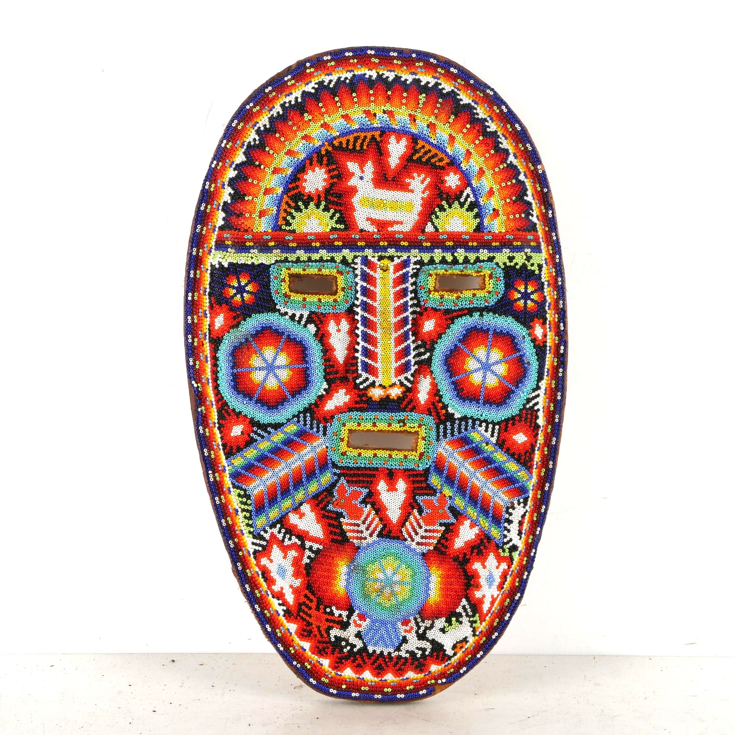 Huichol Inspired Mexican Beaded Mask