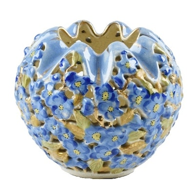 19th-Century Fischer J. Reticulated Ceramic Floral Vase