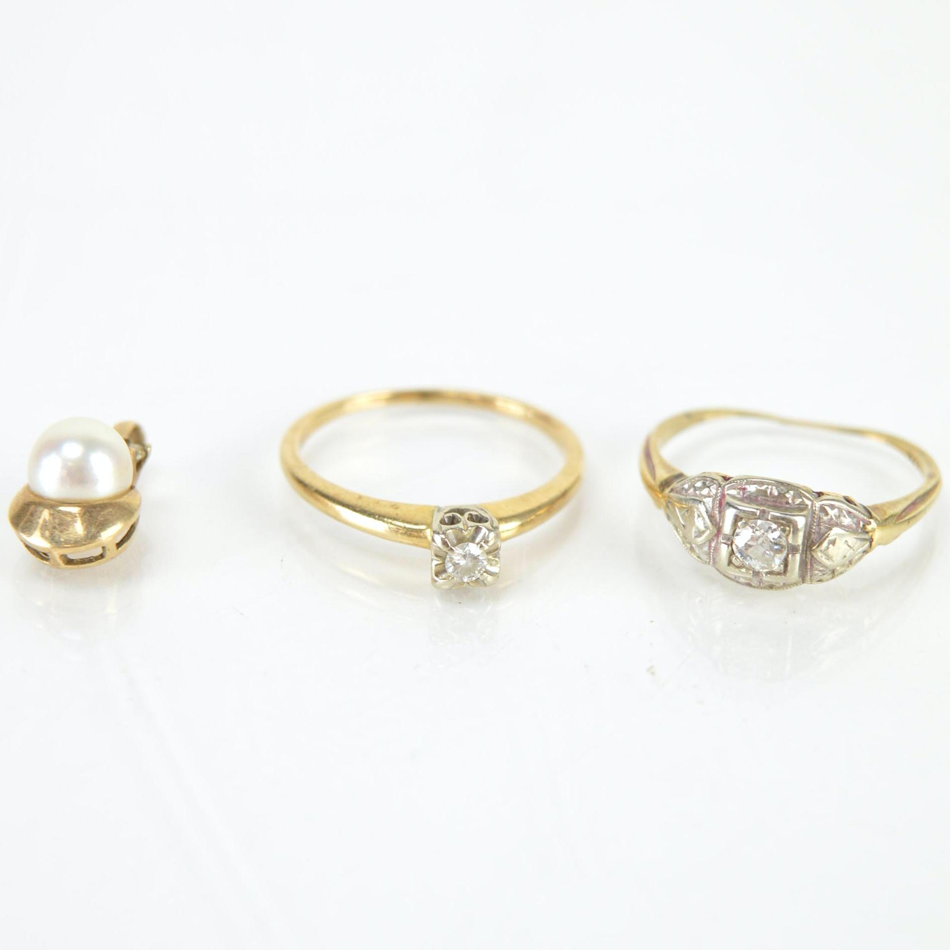 14K Yellow Gold Pearl Pendant and Diamond Rings