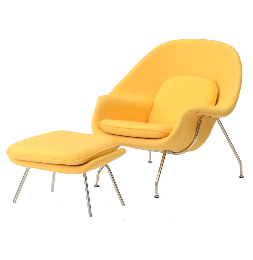 Contemporary Yellow Womb Chair with Ottoman  Contemporary Yellow Womb Chair with Ottoman   EBTH. Eames Wicker Womb Chair. Home Design Ideas