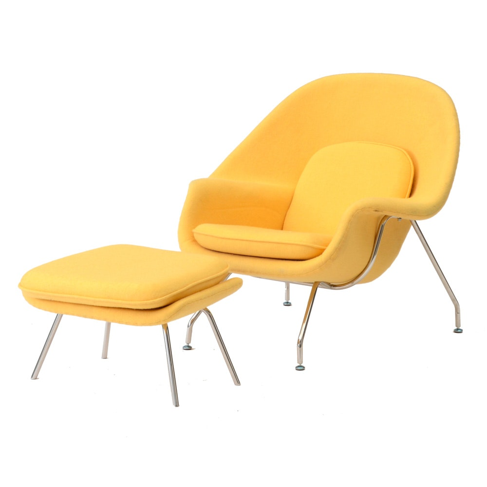 Contemporary Yellow Womb Chair With Ottoman ...
