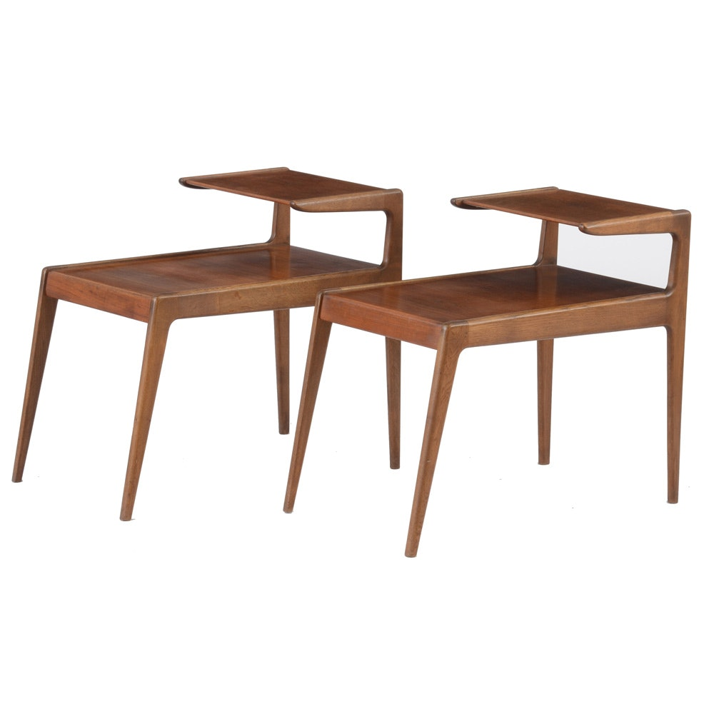Walnut Mid Century Modern End Tables