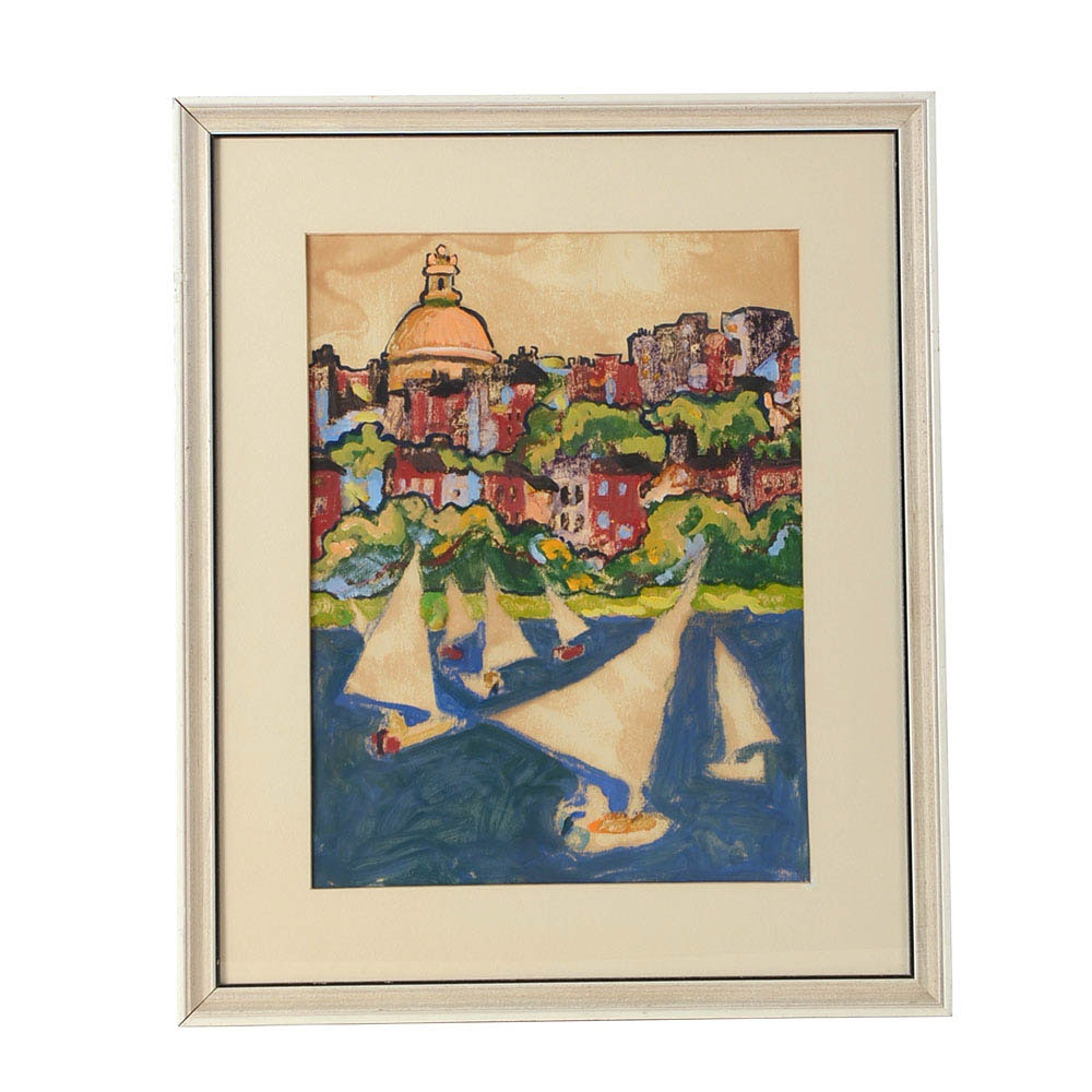 "June Dozier Original Oil Painting on Paper ""Seaside"""