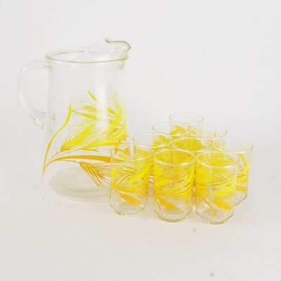 Libbey Glass Wheat Pitcher and Juice Glasses