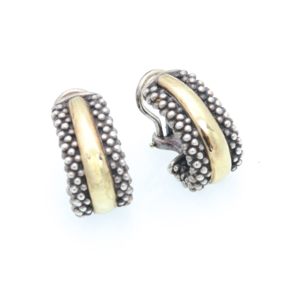 Lagos 18K Yellow Gold and Sterling Silver Earrings