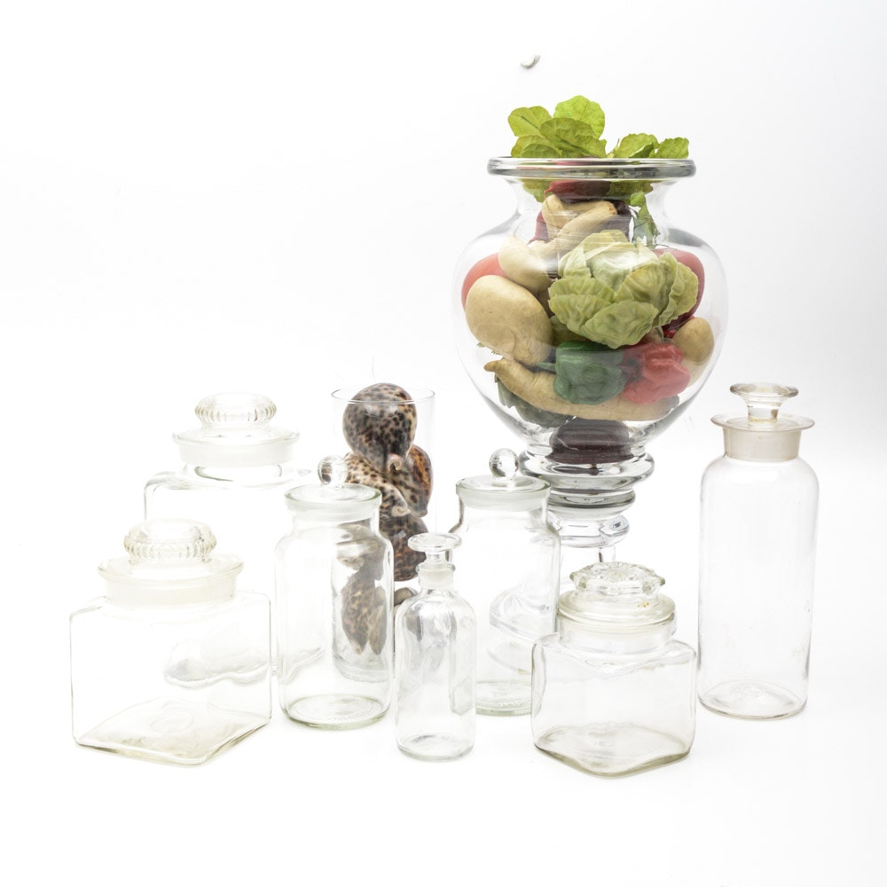 Vintage Glass Vessels with Decorative Fillers