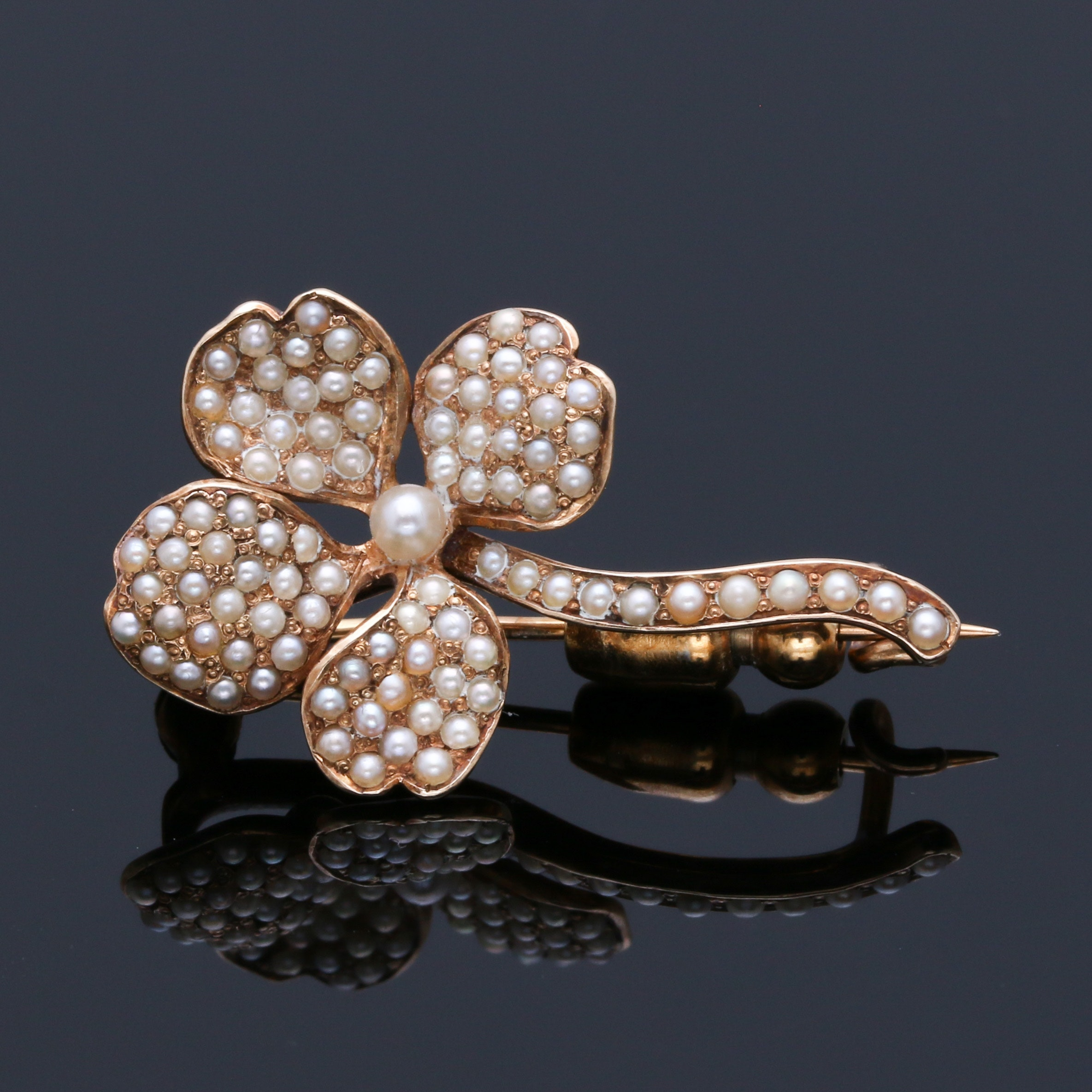 14K Yellow Gold Seed Pearl Flower Brooch