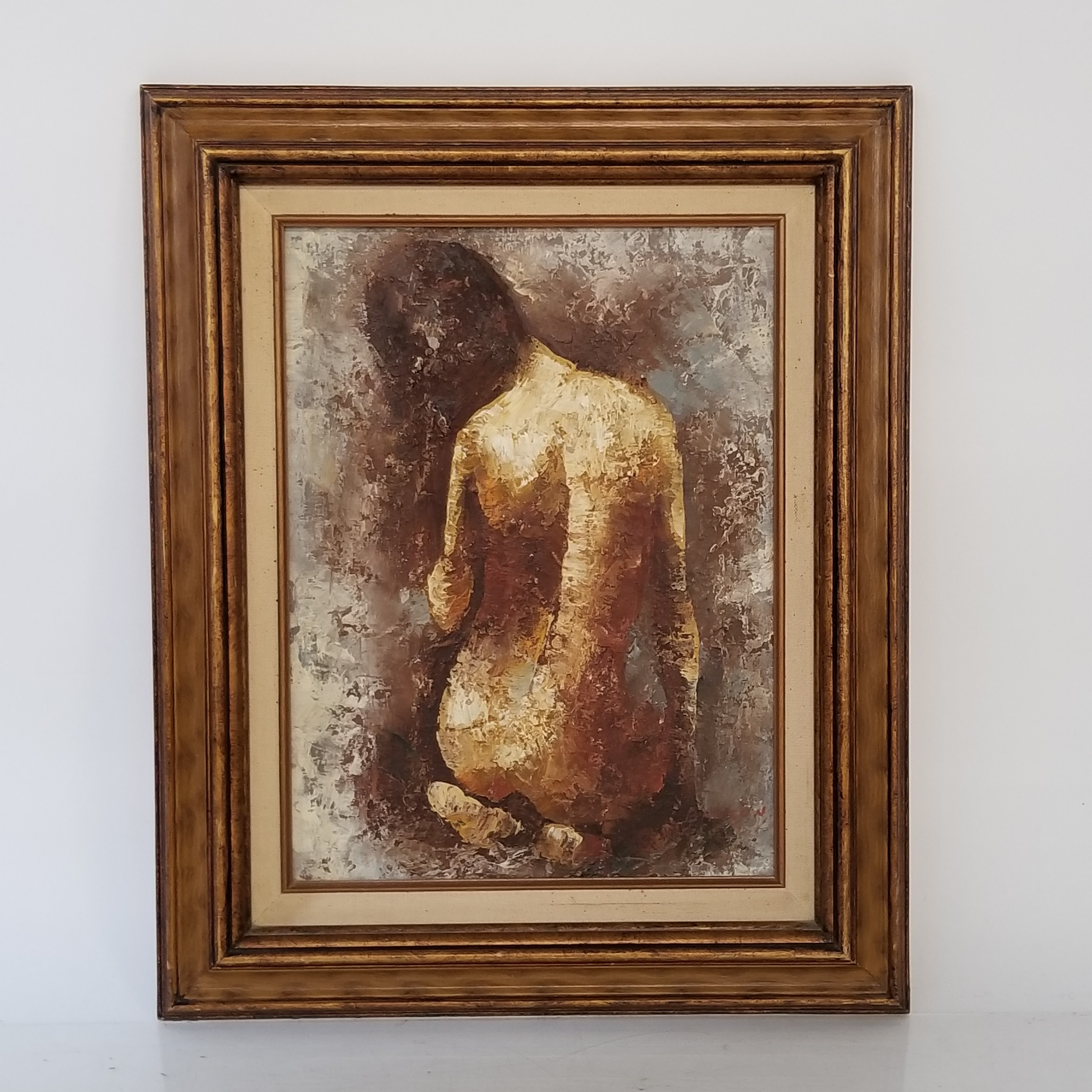 Signed Barton Nude Oil On Canvas