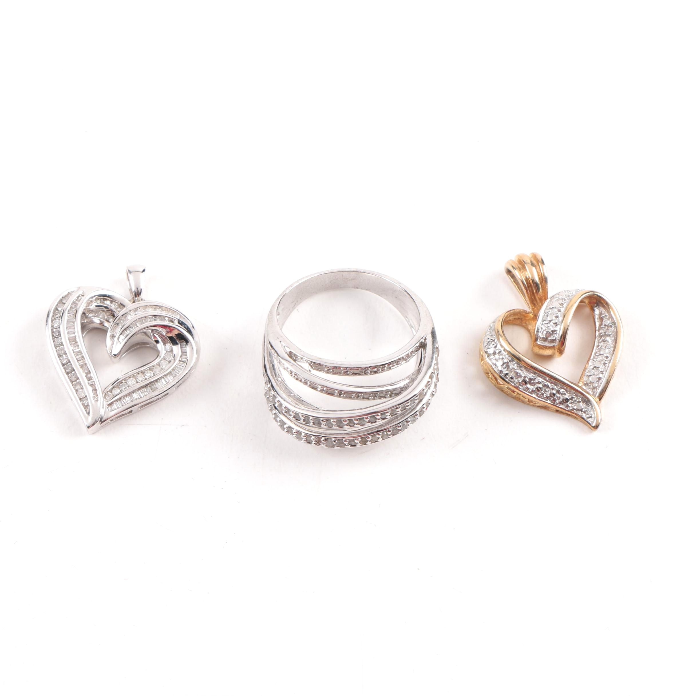 Sterling Silver Diamond Pendants and Ring