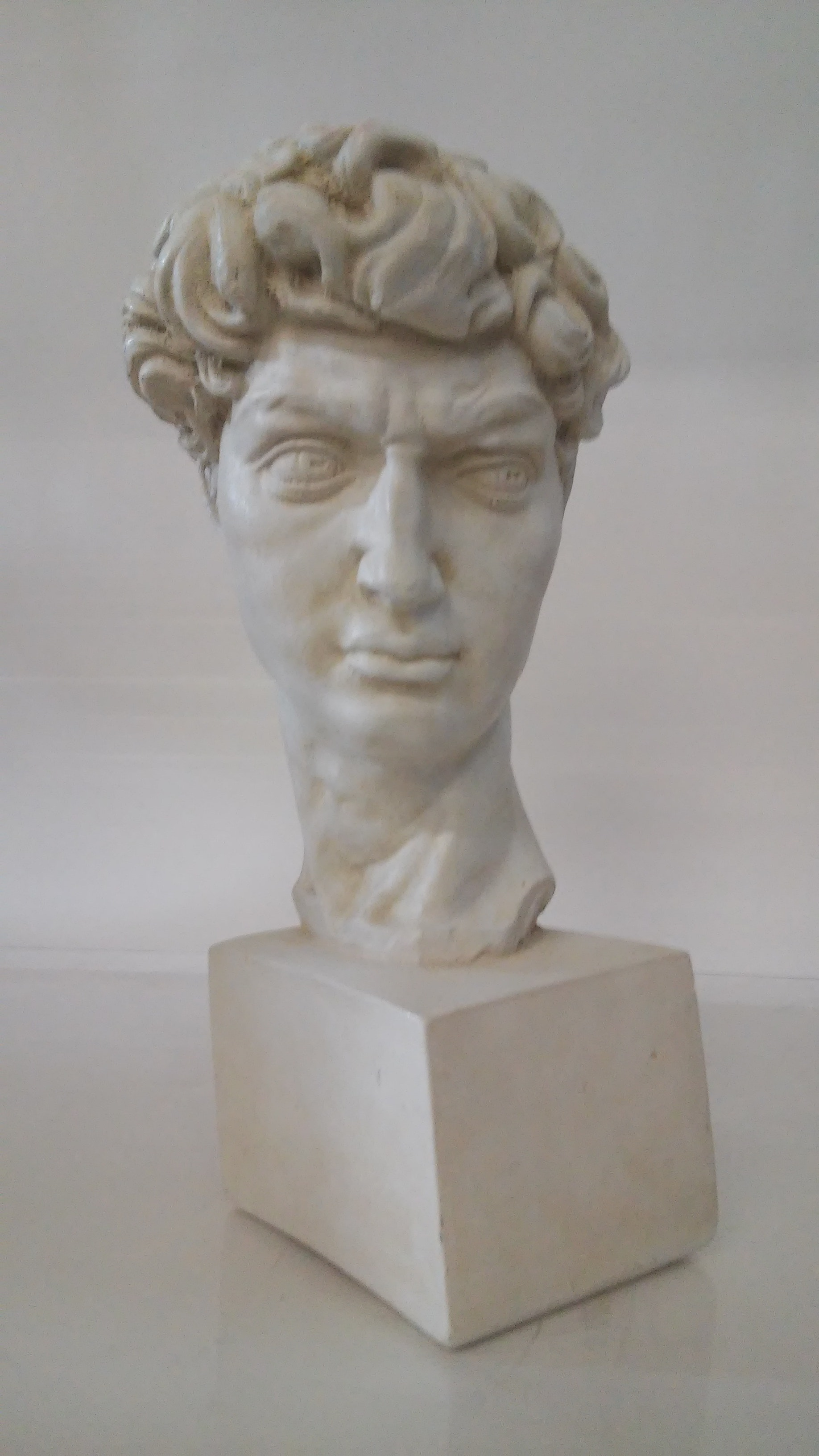 "Painted Cast Concrete Bust of ""David"" after Michelangelo"
