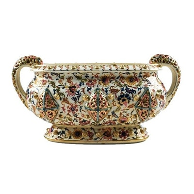 19th-Century Fischer J. Reticulated Ceramic Handled Centerpiece