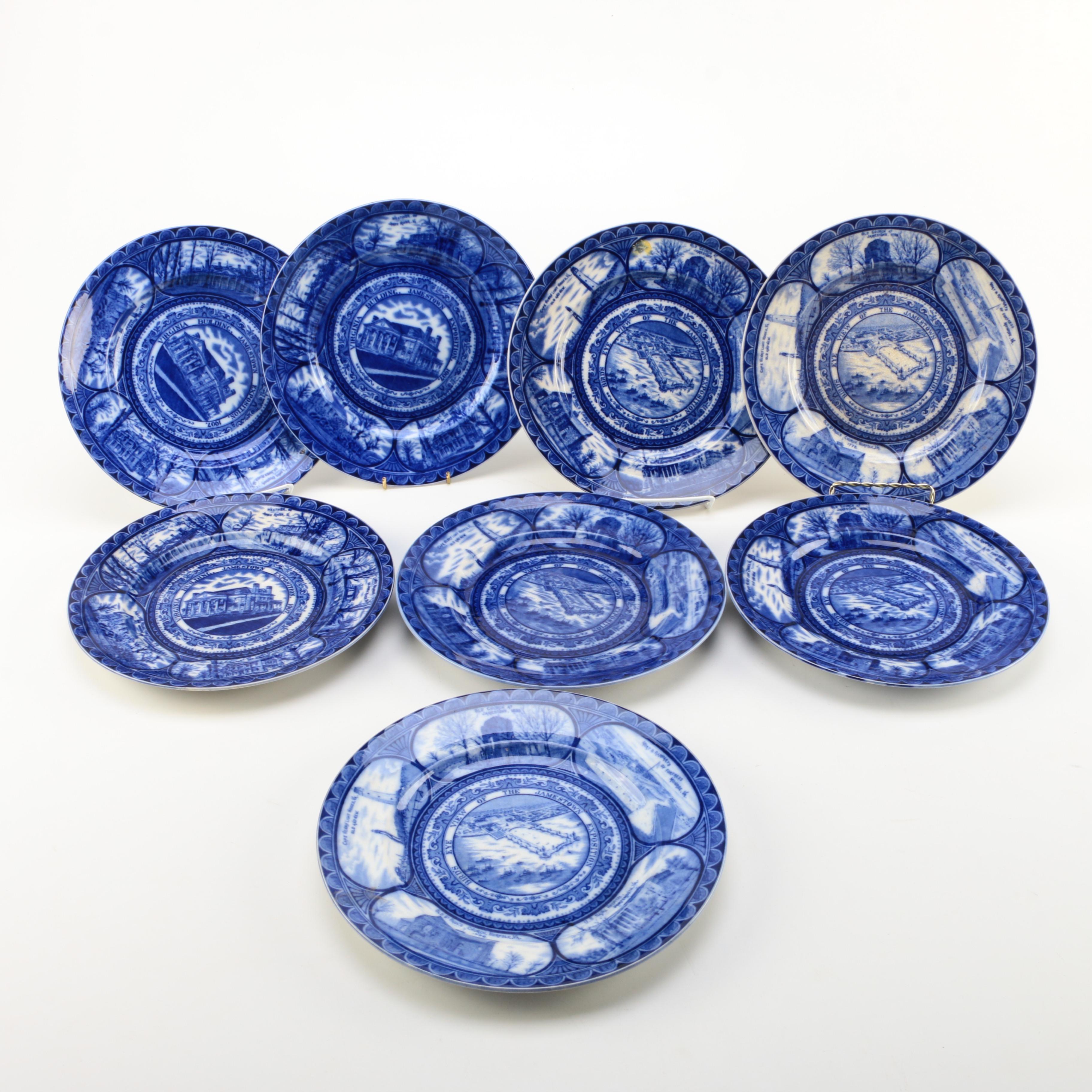 Antique Royal Staffordshire Jamestown Exposition Flow Blue Plates ... & Antique Royal Staffordshire Jamestown Exposition Flow Blue Plates : EBTH