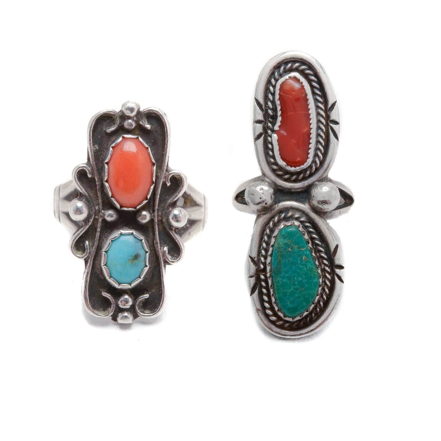 Pairing of Sterling Silver Turquoise and Coral Rings
