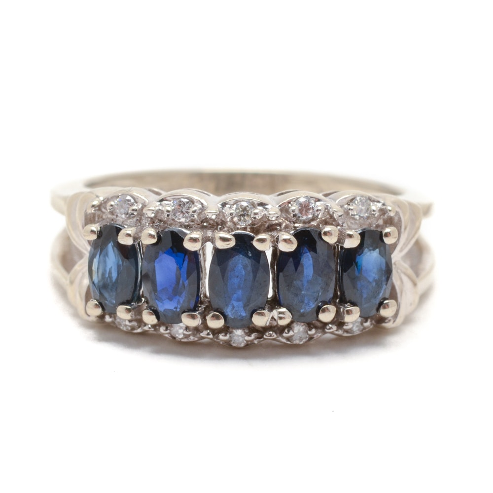 14K White Gold Natural Blue Sapphire Diamond Ring