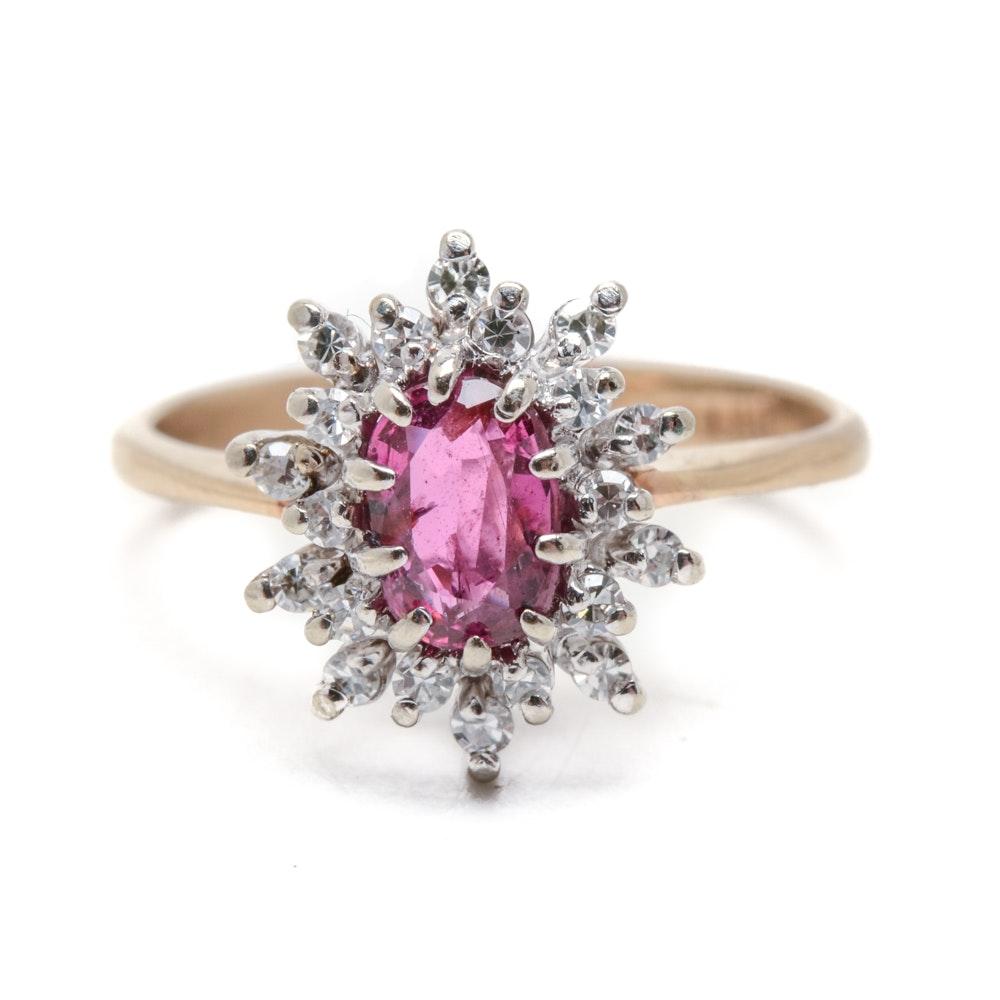 14K Yellow Gold Natural Pink Sapphire Diamond Ring