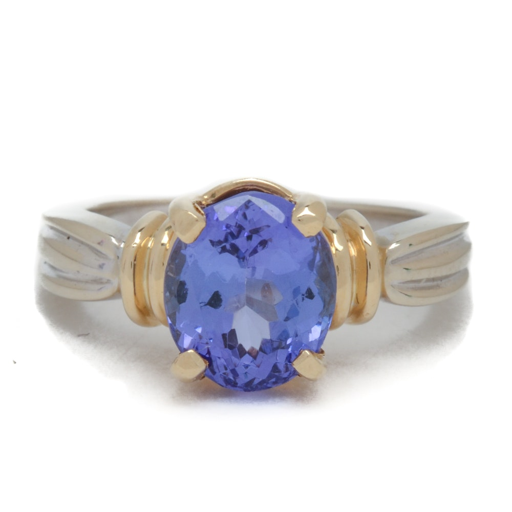 14K White and Yellow Gold 2.45 Carat Natural Tanzanite Ring