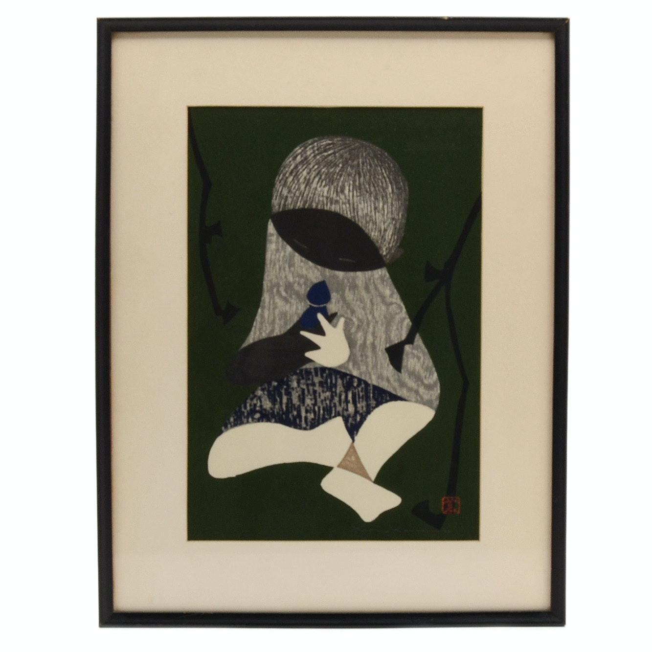 "Kawano Kaoru Original Japanese Woodblock Print ""Conversation"""