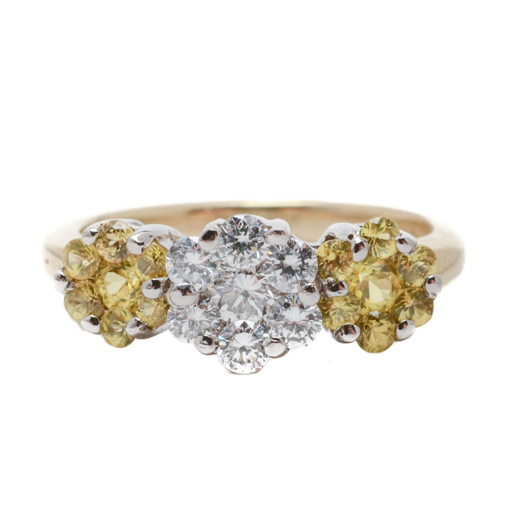 14K Yellow Gold Natural Yellow Sapphire Diamond Cluster Ring