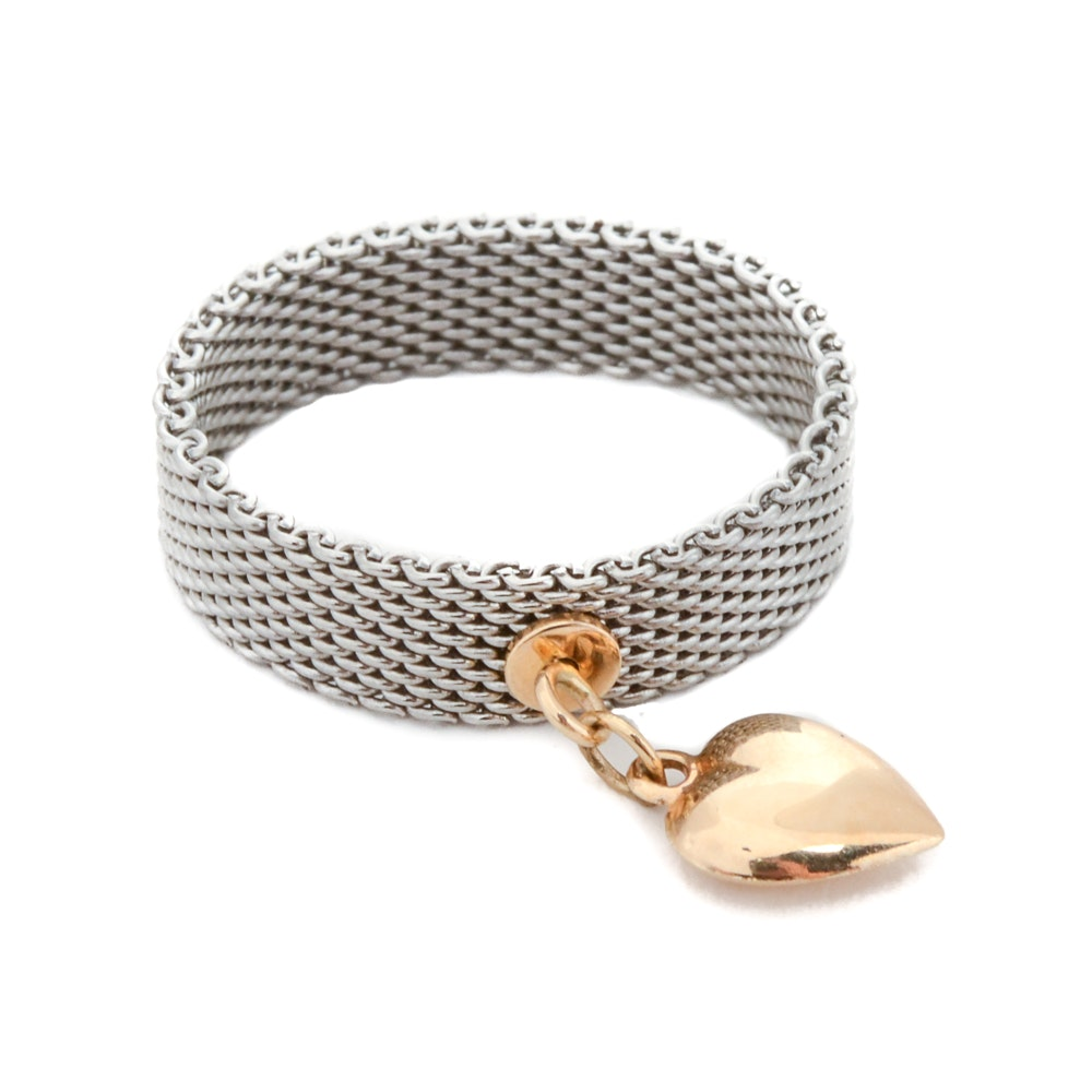 Silver Tone Mesh Ring with 14K Yellow Gold Heart Charm