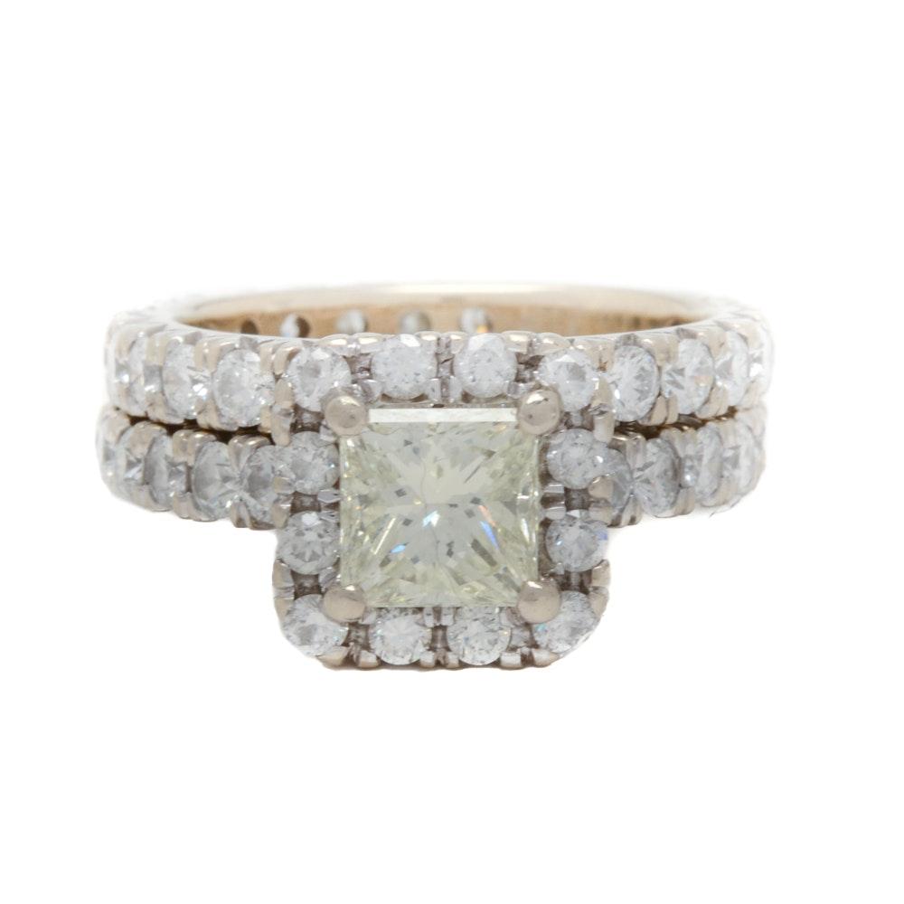 18K White Gold 2.96 CTW Diamond Bridal Ring Set