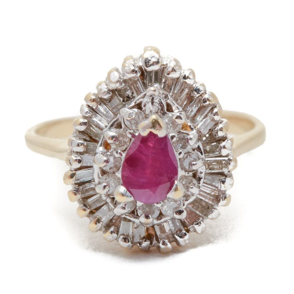 14K Yellow Gold Natural Ruby Diamond Ring