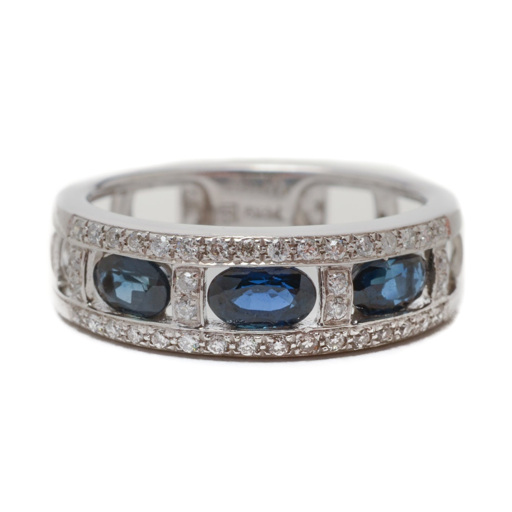 14K White Gold Natural Sapphire Diamond Ring