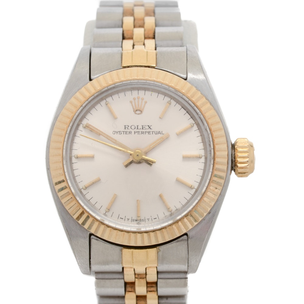 Vintage Rolex 14K Yellow Gold Fluted Bezel Wristwatch
