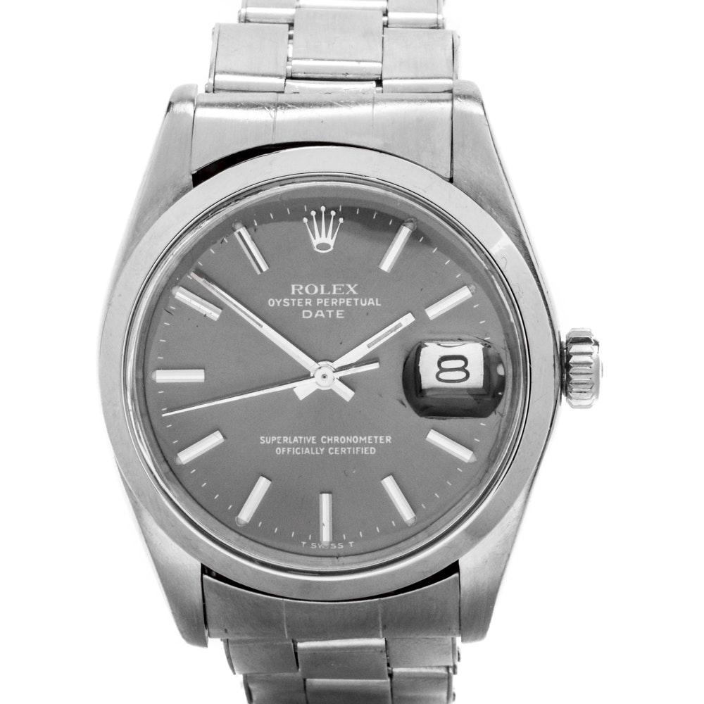 1975 Rolex Date Stainless Steel Wristwatch