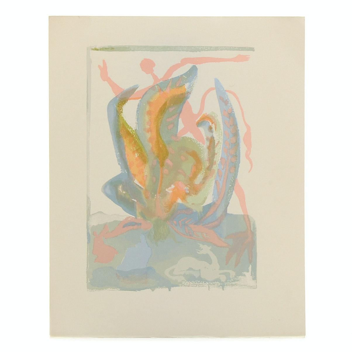 "Salvador Dalì Decomposition Wood Engraving ""Purgatory Canto 23"""
