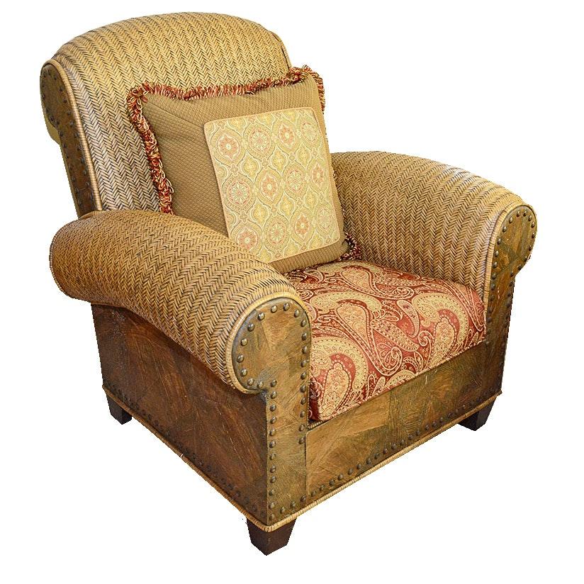 Wicker Armchair With Paisley Cushion And Nailhead Façade By Padmau0027s  Plantation ...