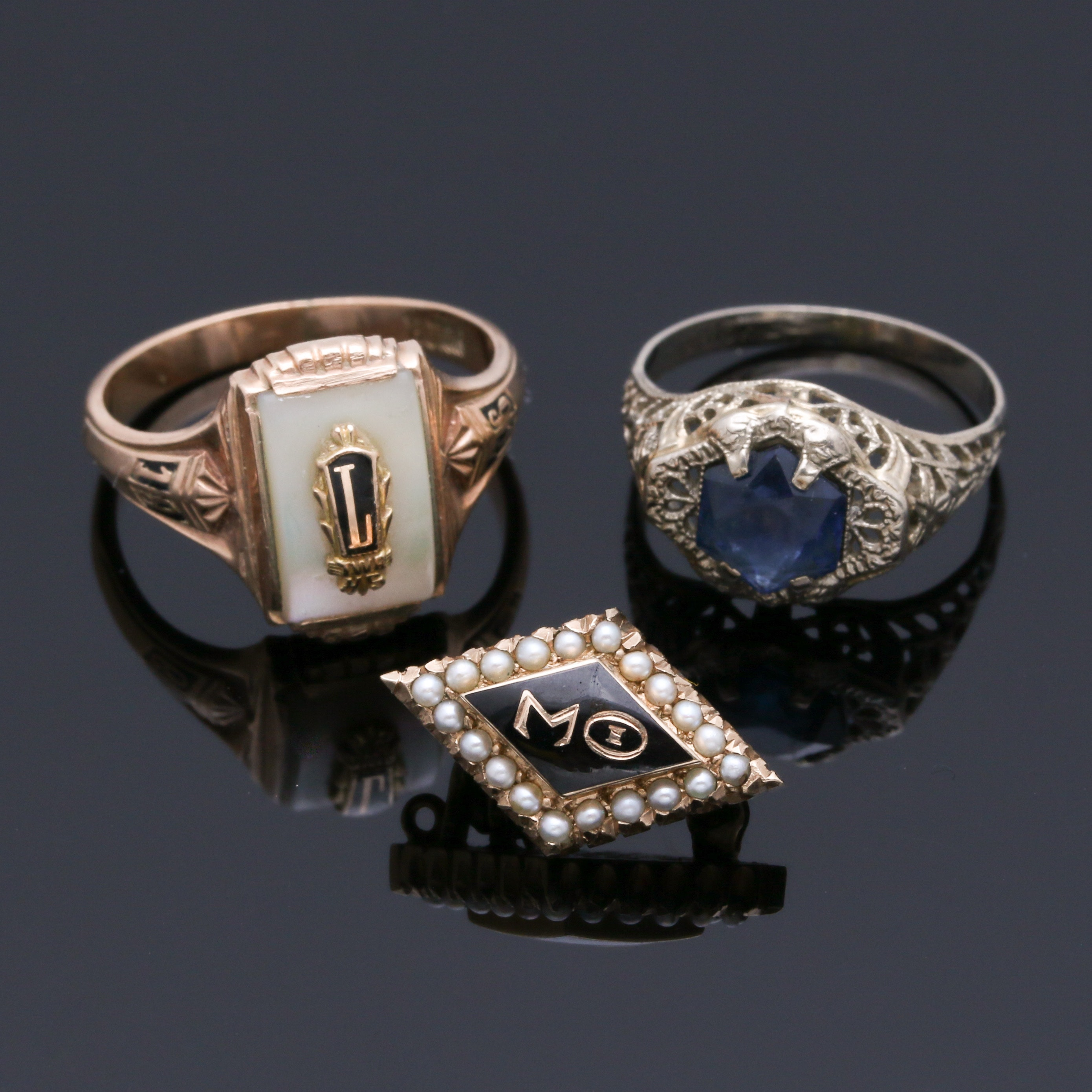 10K White and Yellow Gold Gemstone Brooch and Rings